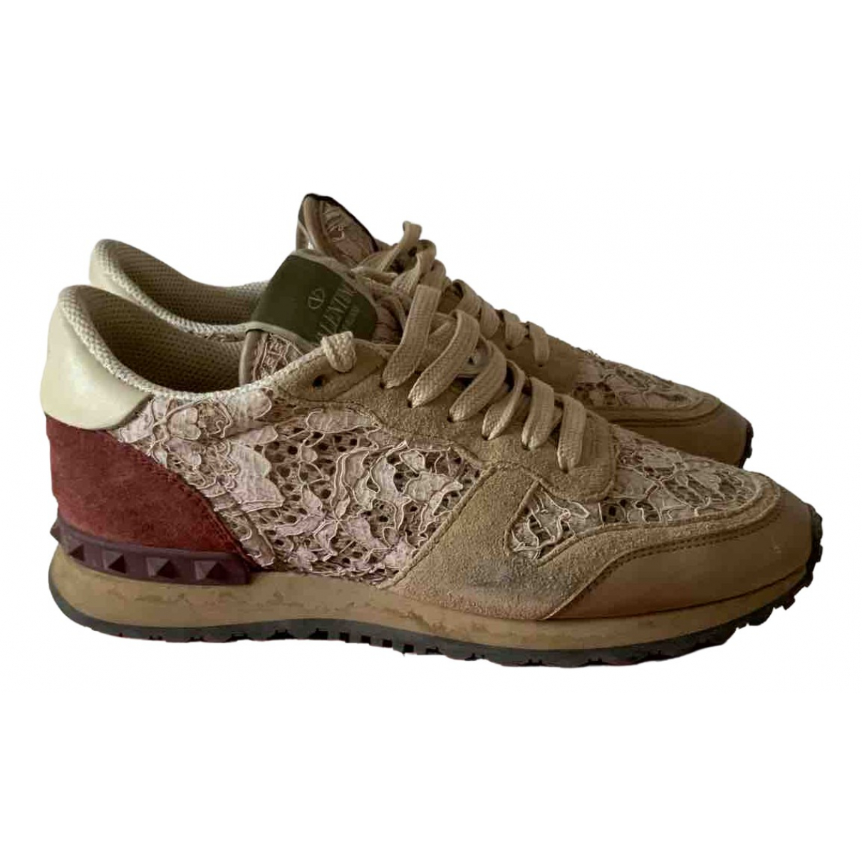 Valentino Garavani Rockrunner Beige Leather Trainers for Women 36 EU