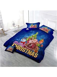 Santa Claus and Christmas Snowman Wear-resistant Breathable High Quality 60s Cotton 4-Piece 3D Bedding Sets