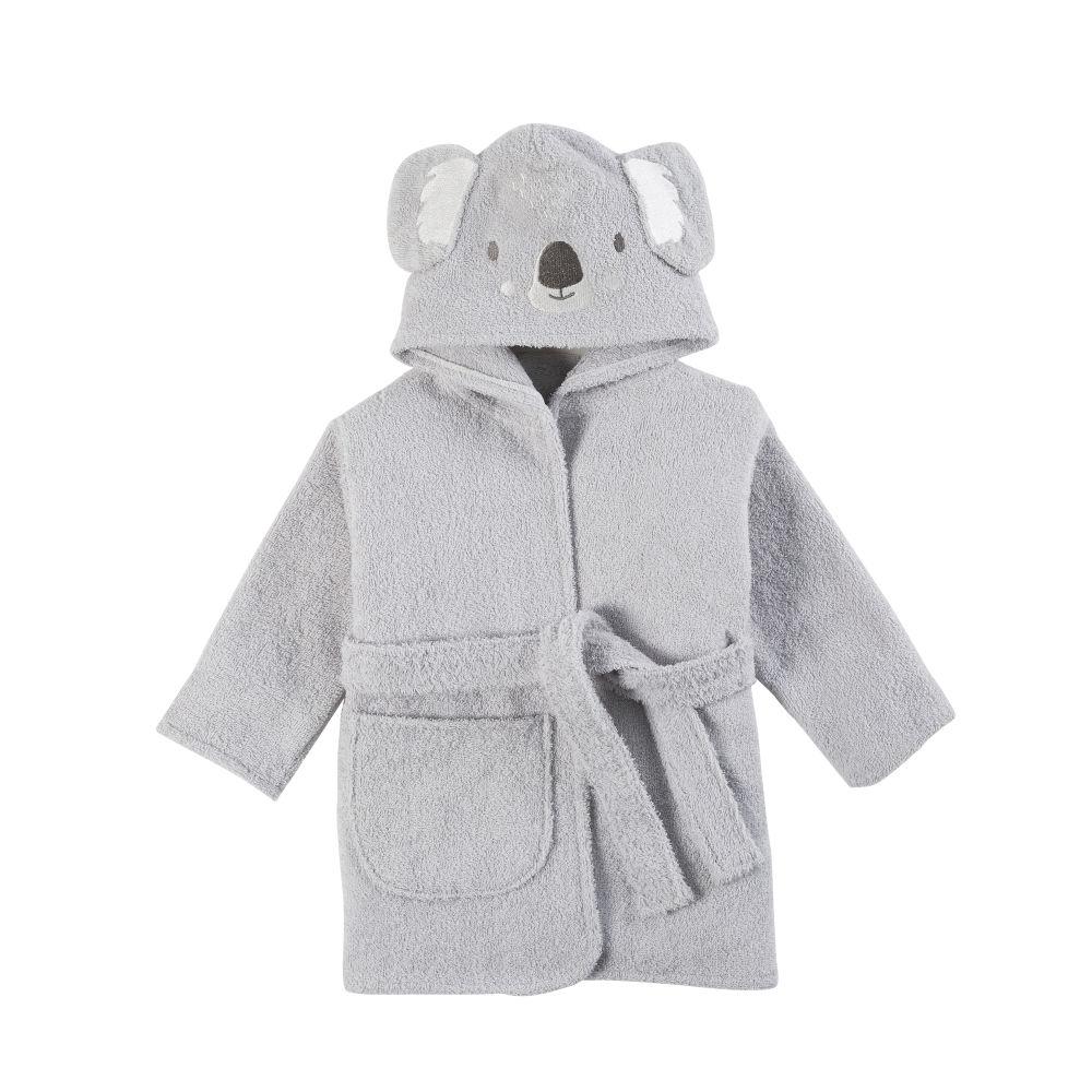 Babybademantel aus Baumwolle, grau, bestickt
