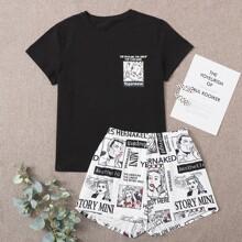 Pajama Set mit Figur und Buchstaben Grafik