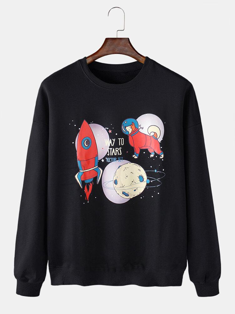 Mens Cartoon Space Rocket Print Cotton Drop Shoulder Loose Casual Pullover Sweatshirt
