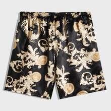 Men Satin Graphic Print Pajama Shorts