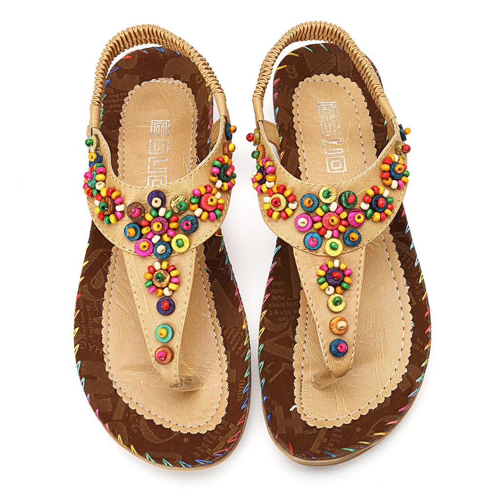 Bohemia Flowers Diamond Beads Shape Splice Flat Summer Sandals