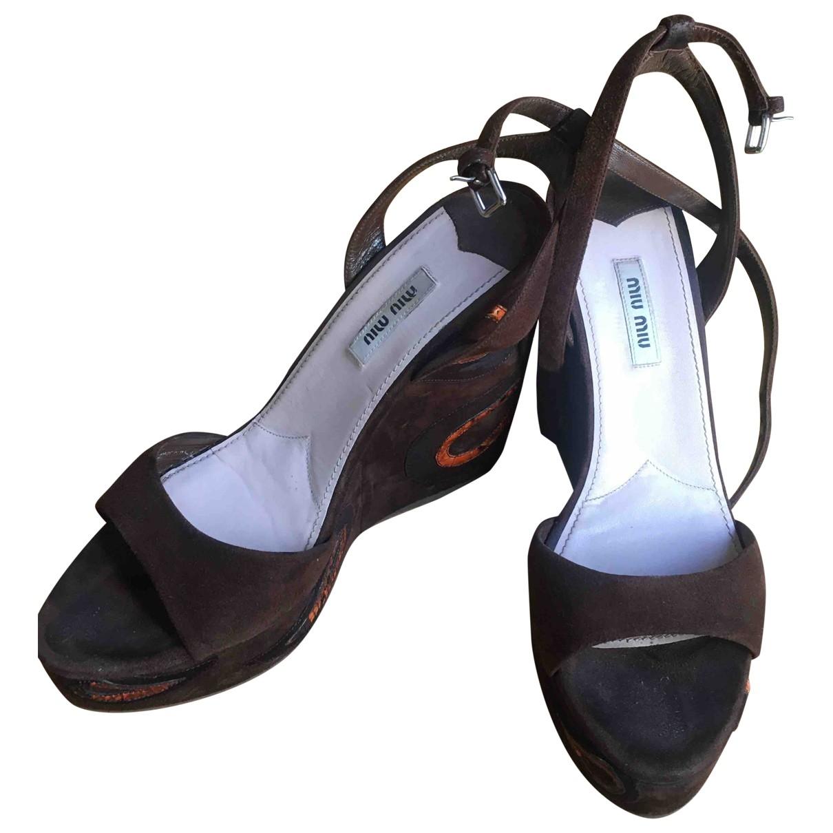 Miu Miu \N Brown Suede Sandals for Women 39 EU