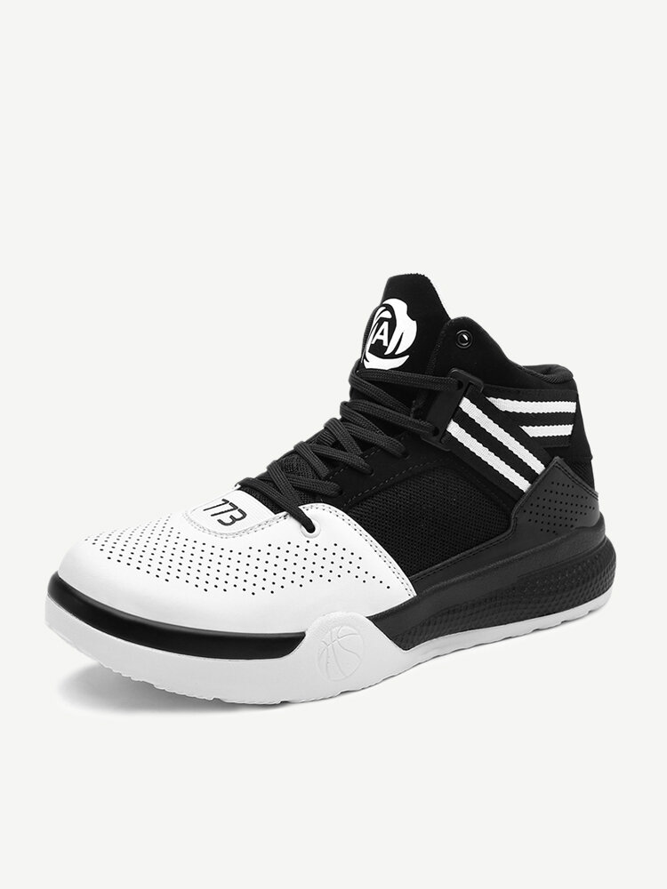 Men High Top Breathable Slip Resistant Basketball Sneakers