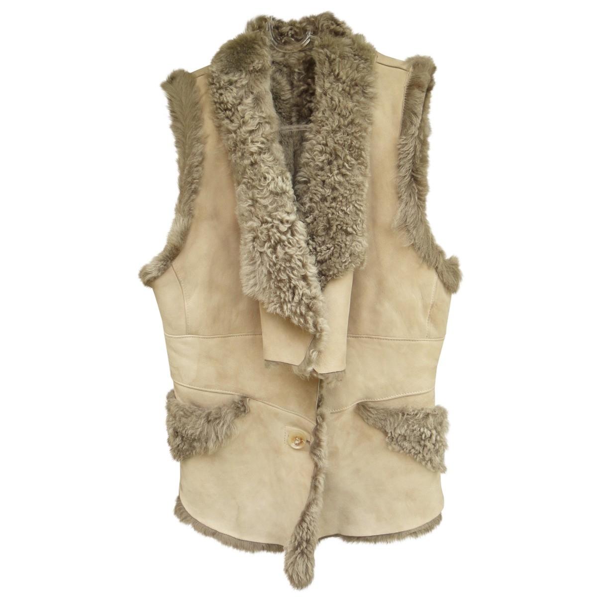 Ventcouvert \N Beige Mongolian Lamb Knitwear for Women 38 FR