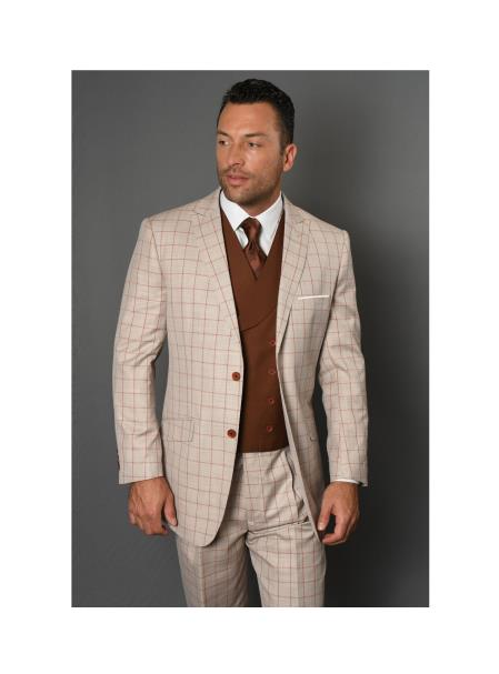 Brand Mens REGULAR ITALIAN Wool FABRIC With Double breasted Vest Tan