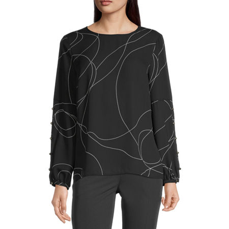 Liz Claiborne Womens Round Neck Long Sleeve Blouse, Small , Black