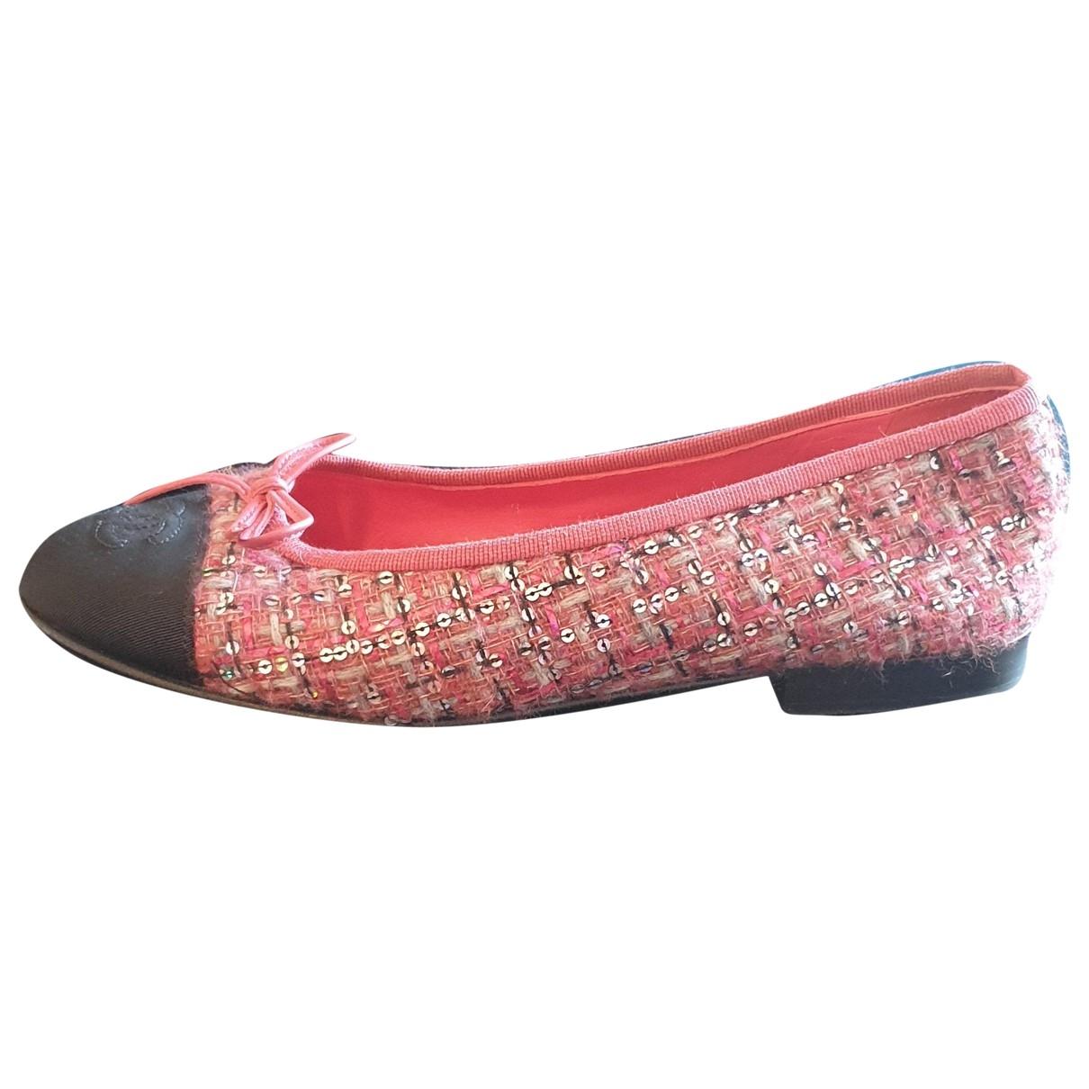 Chanel - Ballerines   pour femme en tweed - rose