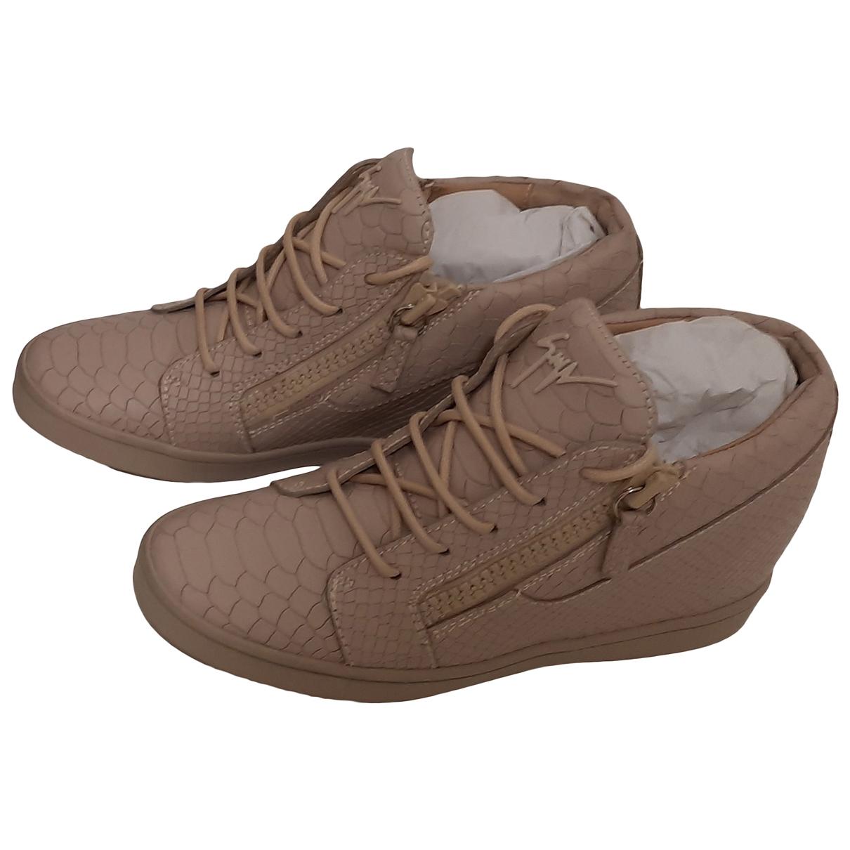 Giuseppe Zanotti \N Sneakers in  Beige Leder