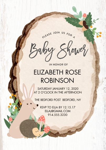 Baby Shower Invitations Flat Matte Photo Paper Cards with Envelopes, 5x7, Card & Stationery -Baby Shower Wood Plaque by Tumbalina