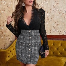 Plunging Contrast Lace Puff Sleeve Combo Dress