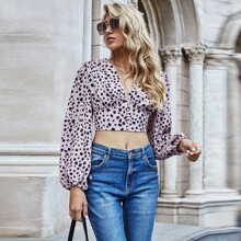 All Over Print Pearls Button Front Crop Blouse