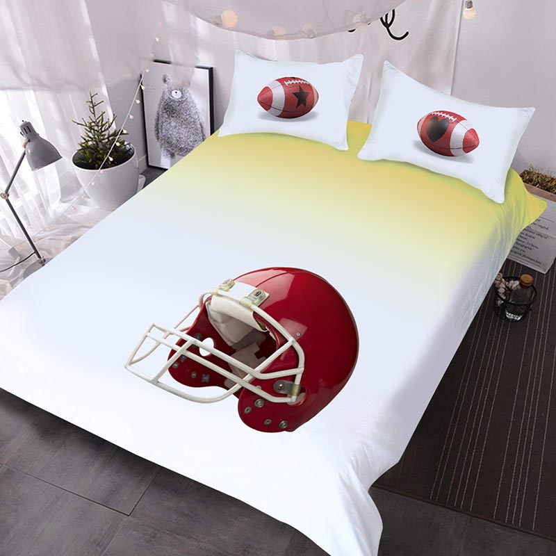 Red Football Helmet And American Football Printed Polyester 3-Piece Comforter Sets
