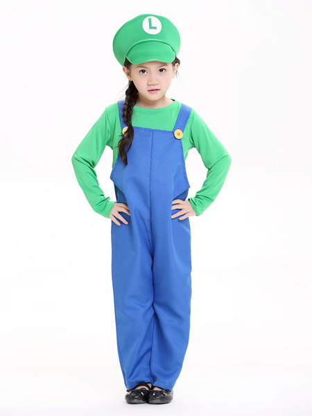 Milanoo Child Super Mario Bros Cosplay Costume Halloween Little Girls Jumpsuit Outfit Kids