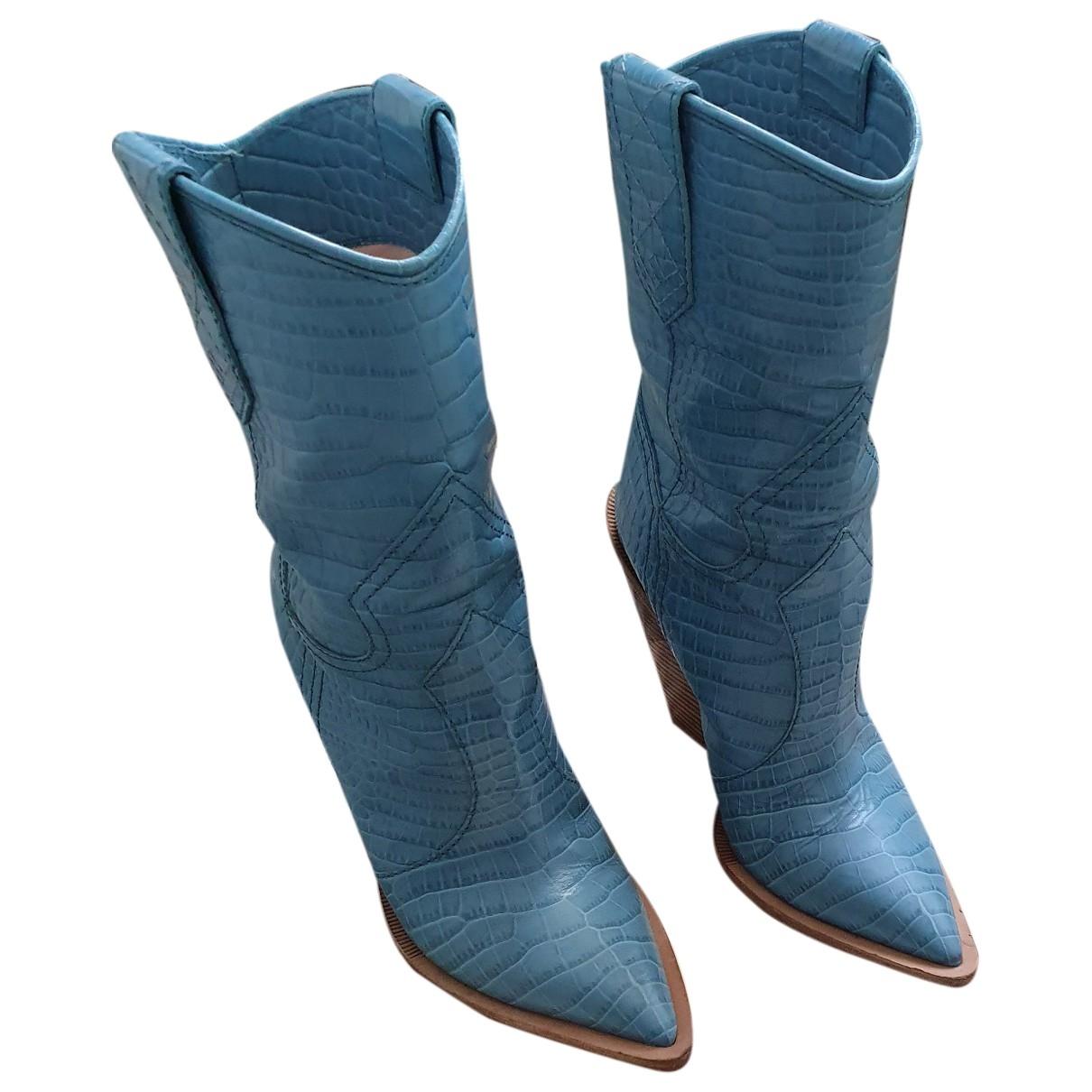 Fendi - Bottes Cowboy pour femme en cuir exotique - bleu