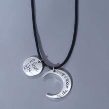 Maenner Halskette mit Mond & rundem Dekor