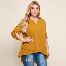 Plus Notched Neck Roll Up Sleeve Dip Hem Top