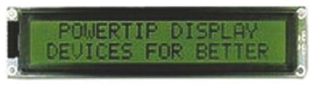 Powertip PC2002LRS-B Alphanumeric LCD Display, 2 Rows by 20 Characters, Transflective