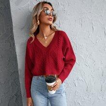Crop Pullover mit Raglanaermeln und Zopfmuster