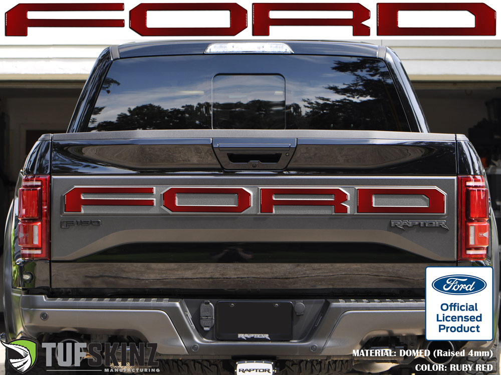 Tufskinz FRD006-SNR-G Tailgate Overlay Fits 15-18 Ford Raptor 4 Piece Kit in Ruby Red