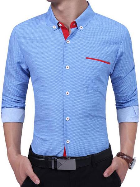 Milanoo Camisas de Hombre 2020 Blanco Cuello de Cobertura Mangas Largas Color Negro Ajustado Casual Camisa
