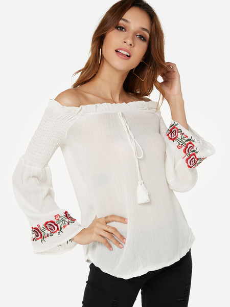 Yoins White Embroidered Off The Shoulder Long Sleeves Blouse