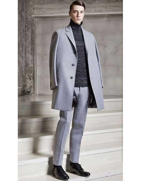 Grey 3 Buttons Notch Lapel Single Breasted Wool Cashmere Overcoat