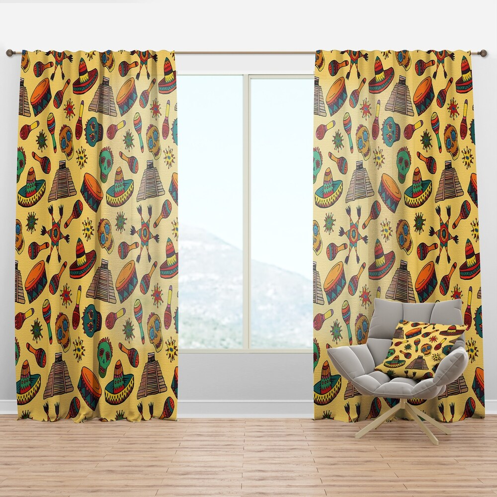 Designart 'Pattern with Mexican Symbols' Tropical Curtain Panel (50 in. wide x 95 in. high - 1 Panel)