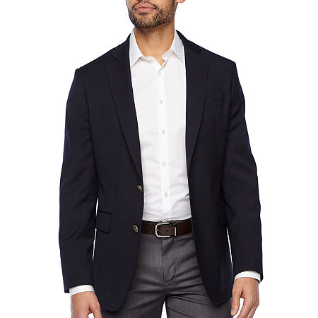 Stafford Hopsack Mens Stretch Classic Fit Blazer, 48 Long, Blue