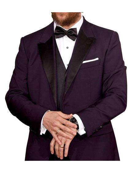 Men's 1 Button Peak Lapel Purple Single Breasted Tuxedo