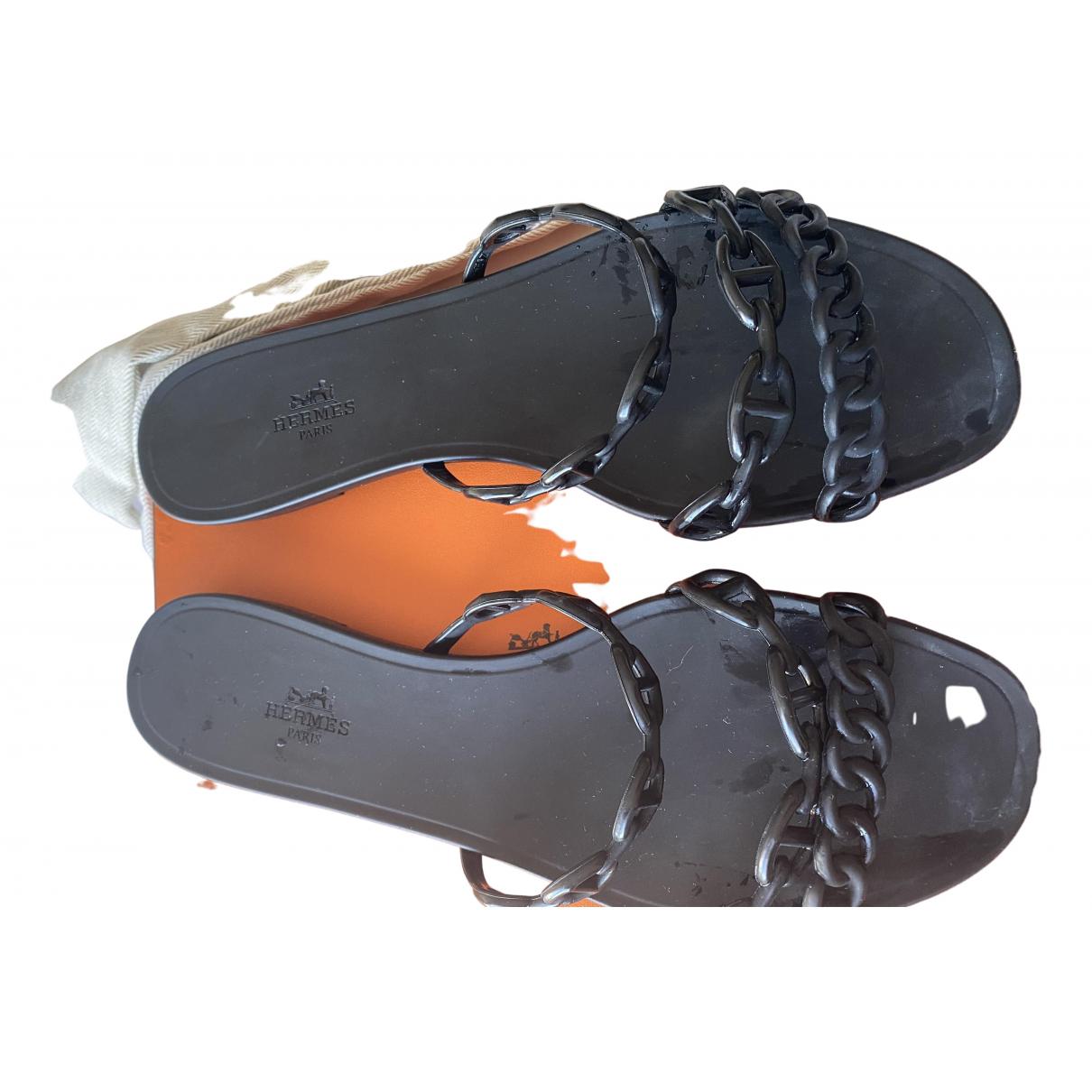 Hermès Rivage Black Rubber Sandals for Women 41 EU
