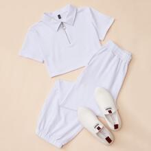 T-Shirt mit O-Ring, Reissverschluss und halber Knopfleiste & Hose Set