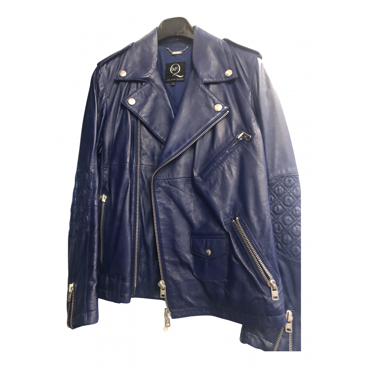 Mcq N Blue Leather jacket for Women 44 IT