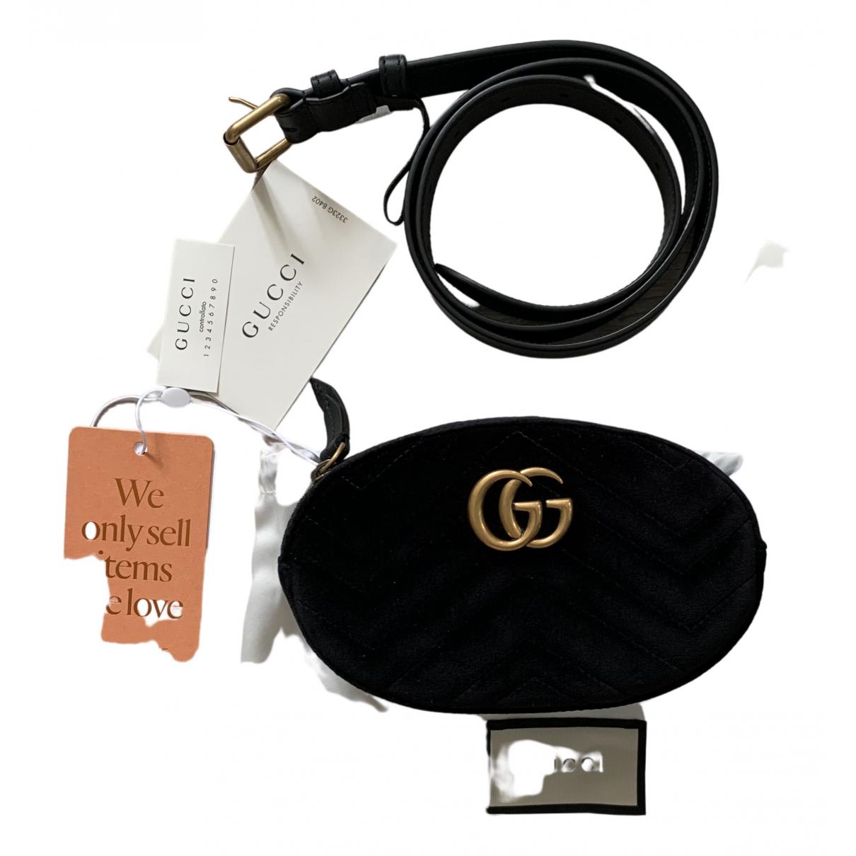 Gucci - Pochette Marmont pour femme en velours - noir