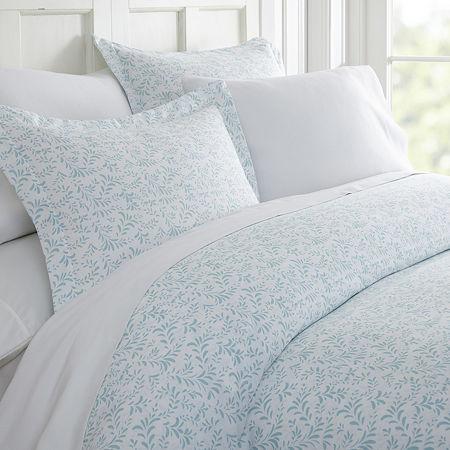 Casual Comfort Premium Ultra Soft 3 Piece Burst of Vines Print Duvet Cover Set, One Size , Blue
