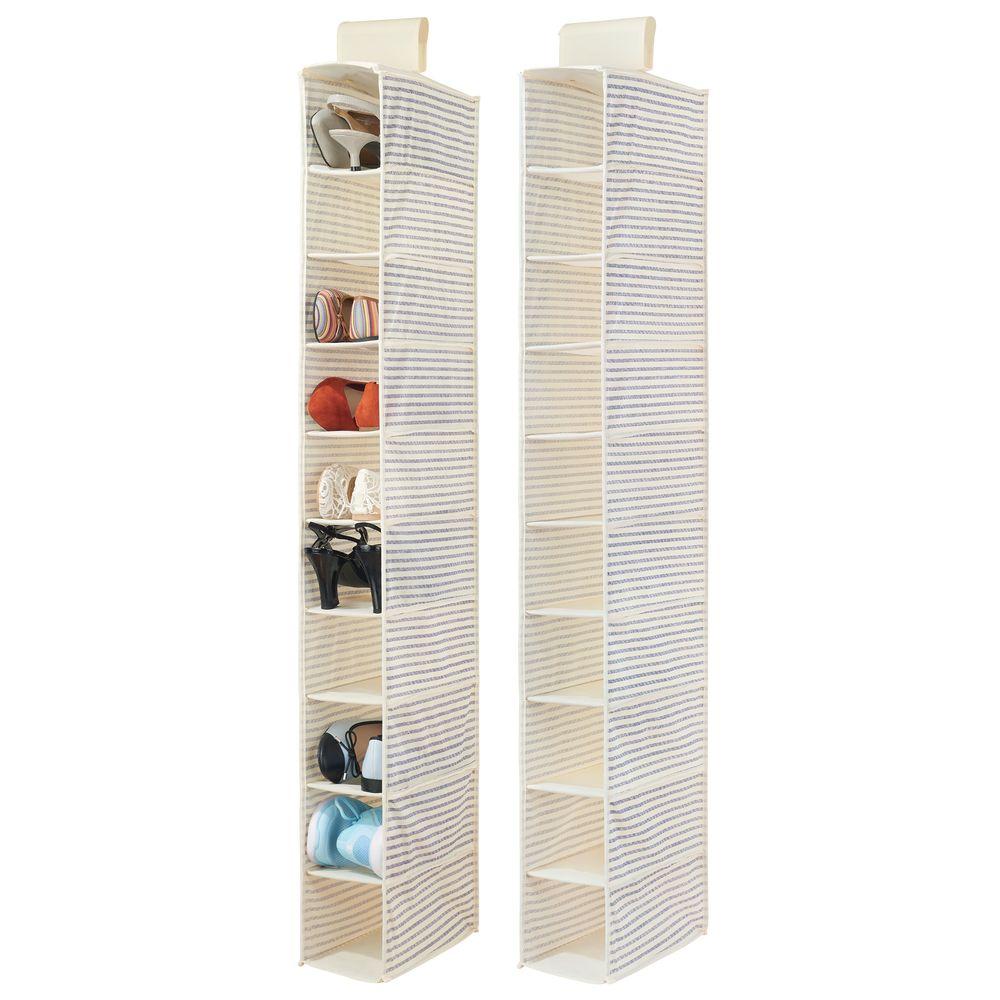 Fabric Closet Hanging Shoe Storage Organizer - 10 Shelf in Natural/Cobalt Blue, 11.75
