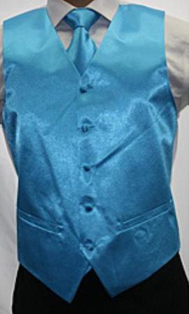 Mens Shiny Turquoise Microfiber 3piece Vest