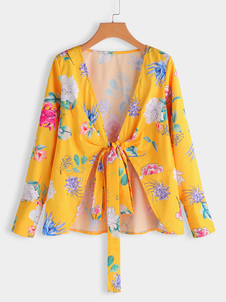 Yoins Yellow Floral Print Deep V Neck Long Sleeves Blouses with Belt