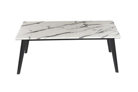 Montego Collection 723578 47 Coffee Table with Stone Top in Black/White