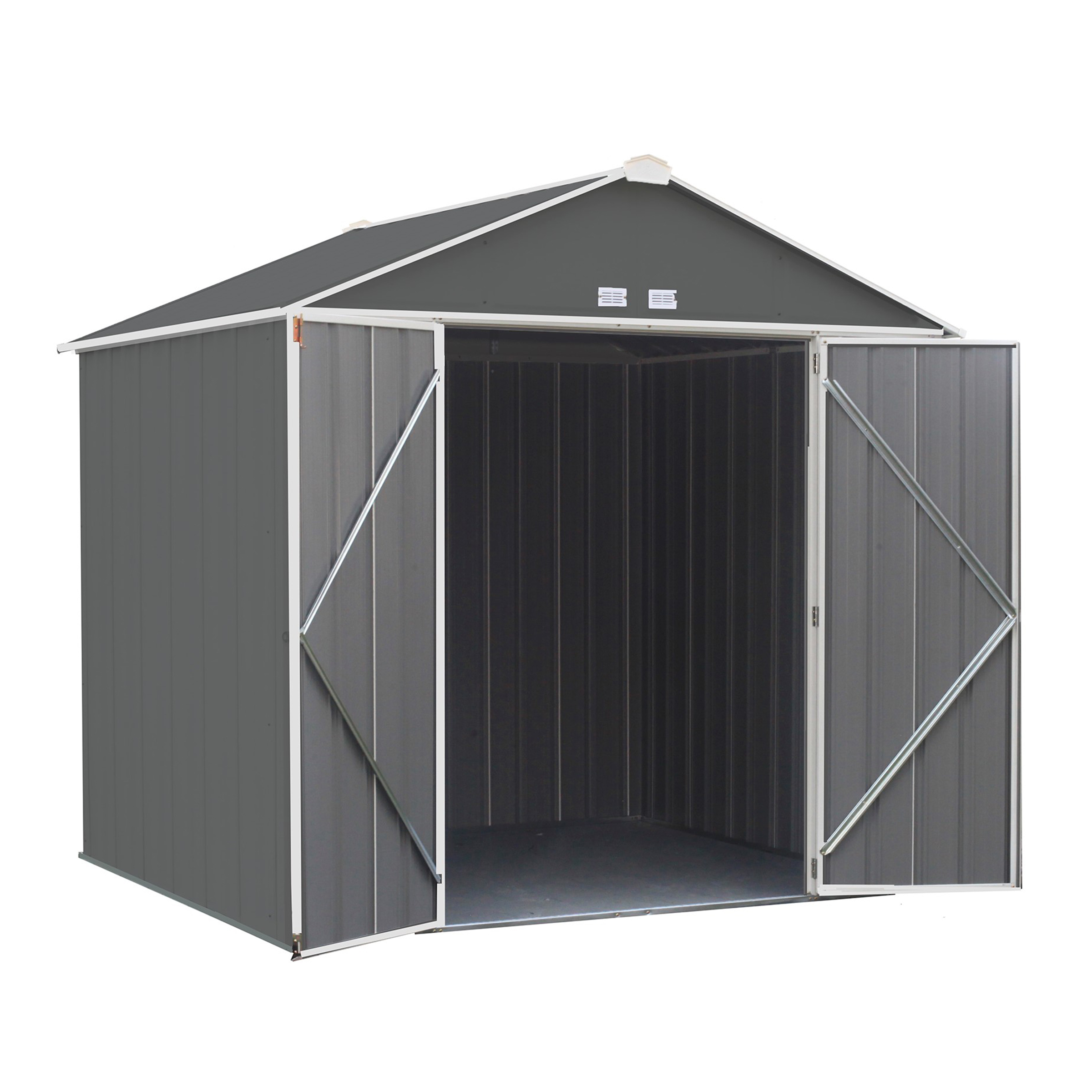 EZEE Shed , 8x7, High Gable, 72 in walls, vents Charcoal & Cream