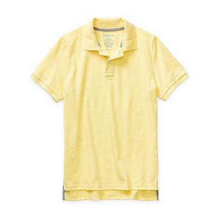 Arizona Little & Big Boys Short Sleeve Polo Shirt, Medium (10-12) , Yellow