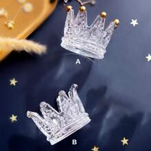 1pc Crown Design Clear Candle Holder