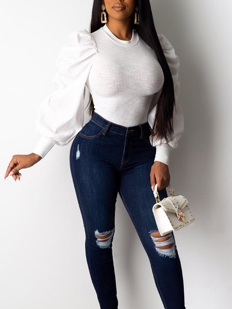 Ericdress African Fashion Plain Puff Sleeve Standard Long Sleeve Blouse