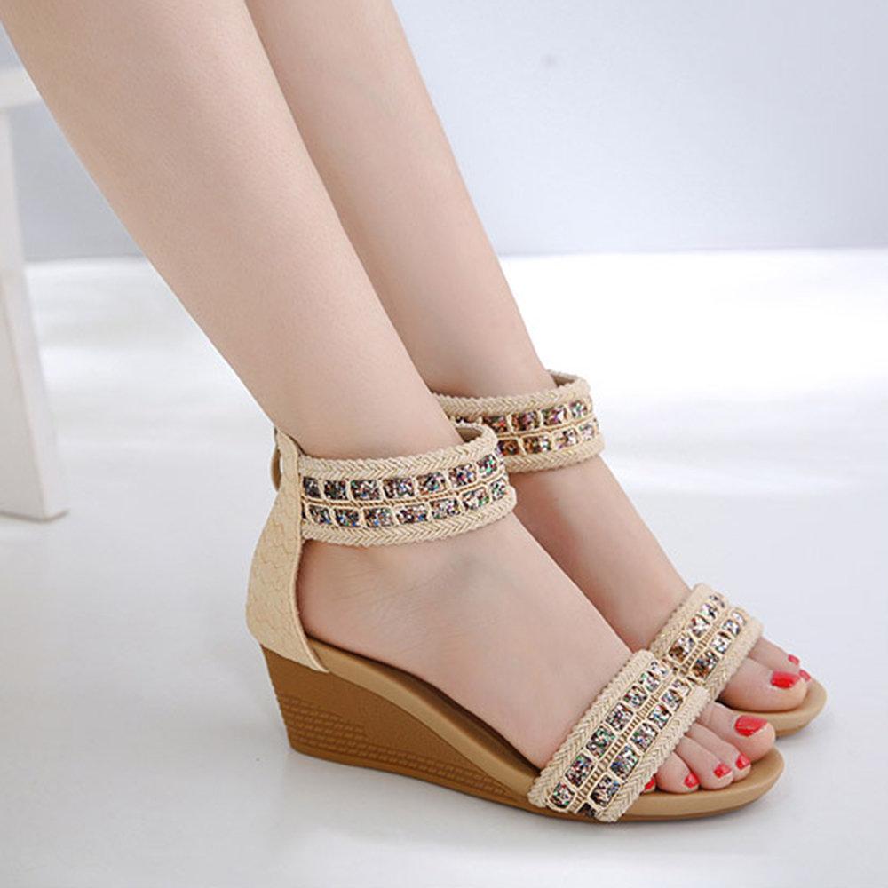Big Size Women Bohemia Sequined Zipper Wedges Heel Sandals