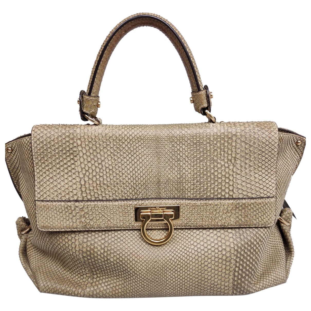 Salvatore Ferragamo Sofia Beige Water snake handbag for Women \N