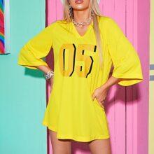 Neon Gelb Langes T-Shirt mit Buchstaben Grafik