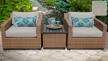 Laguna Collection LAGUNA-03a-ASH 3-Piece Patio Wicker Set with 1 End Table and 2 Club Chairs - Wheat and Ash