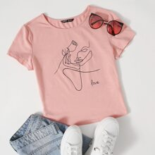 Letter and Figure Graphic Top
