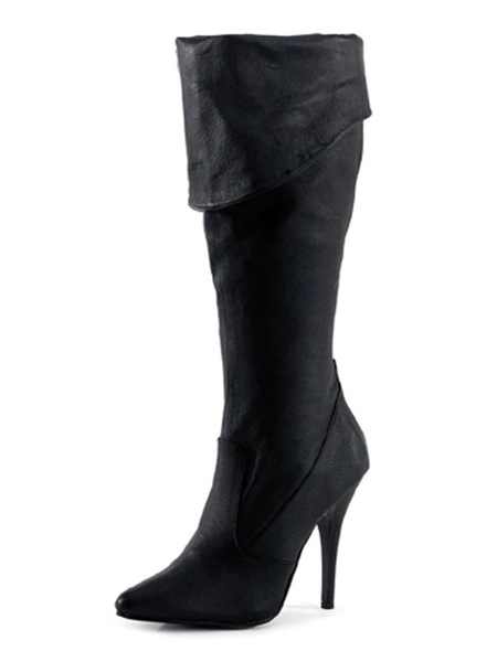 Milanoo Women Sexy Boots Pointed Toe Sequins Stiletto Heel Rave Club Black Thigh High Boots